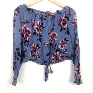 Kendall and Kylie crop top XS floral front tie